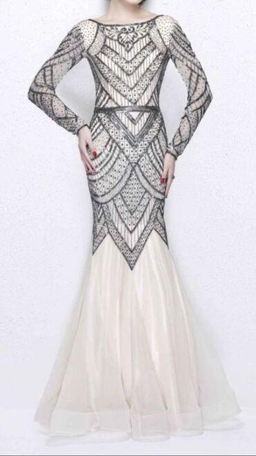 бежевое платье в пол в Кыргызстан: Продаю новое платье в пол от европейского производителя. Размер 42-44