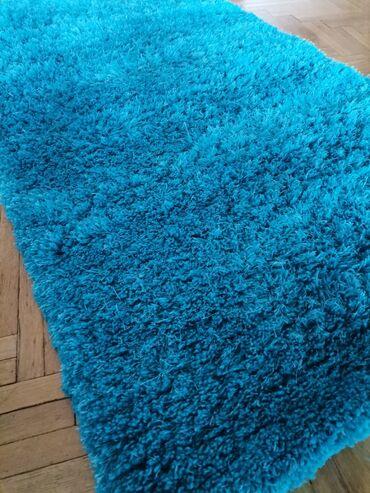 Torba pre meseca - Srbija: Plavi cupavi tepih, 150x80,kao nov, opran, moguc dogovor. Licno