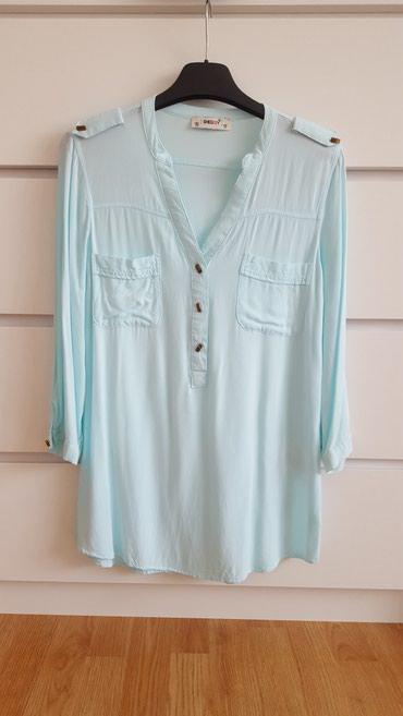 Bluza sa rukav - Srbija: Košulja mint boje, sa 3/4 rukavima. Veličina 38. Nošena samo jednom