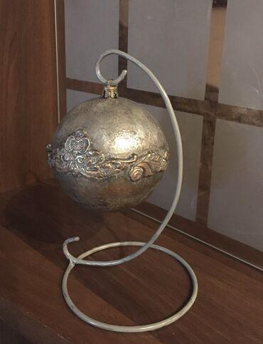 Интерьерный шар в стиле Лофт на подставке, диаметр шара 10 см, высота