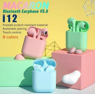 Беспроводные цветные наушники i12  1800сом