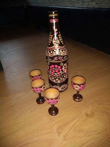 Ukrasne drvene čašice i flaša,mnogo stari ukras,prelep!Za ljubitelje
