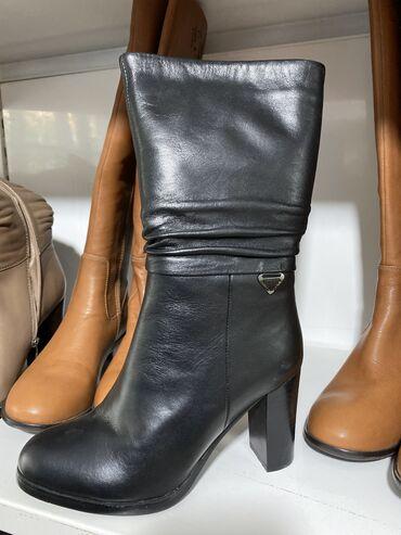 Ботинки на устойчивом каблуке натуральный мех и натуральная кожа КРС