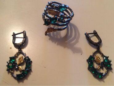 винтажные куклы в Азербайджан: Серьги и кольцо из серебра 925 пробы Ретро изумрудные черные золотые