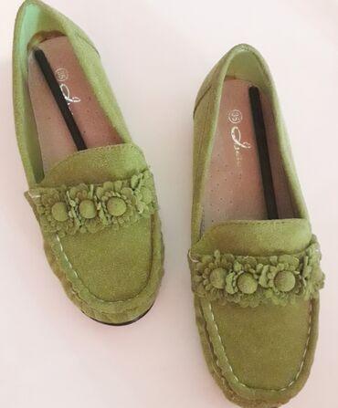 Dečije Cipele i Čizme - Obrenovac: Zelene mokasine br 35, nove, gazište 22,5 cm,marke Jeidar, veštačka