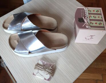 Anatomske papuče srebrne