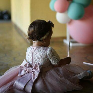 Haljina cipele - Srbija: Haljinica za prvi rodjendan sa masnicom. Obucena jednom, neostecena