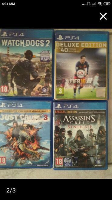Πουλάω 4 παιχνίδια watch dogs 2, FIFA 16, just cause 3 και assassin's