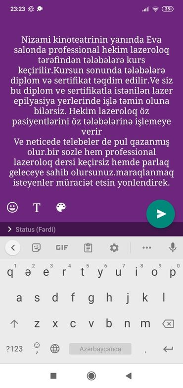 240 elan | İŞ: Əziz xanımlar profesional hekim lazeroloq Mila xanım lazer epilyasiya