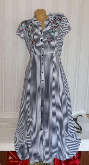 Платье р. 48-50 Индия штапель б/у длина в пол с карманами с вышивкой в
