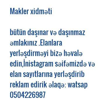 Rieltor xidmətləri - Azərbaycan: Makler xidməti əlaqə: watsap