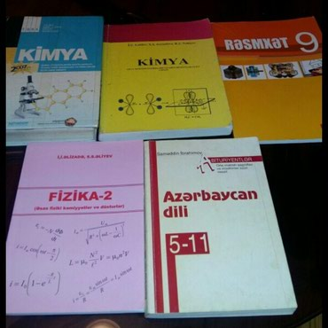 Bakı şəhərində Kitablar.kimya tqdk,Lətifov,fizika,rəsmxət,Azərbaycan dili