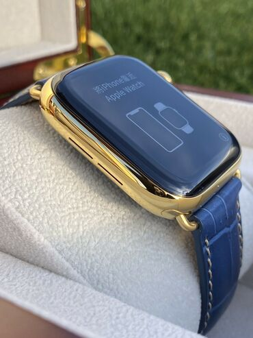 24K Gold Plated 44MM Apple Watch SERIES 5 Stainless Steel Blue Band