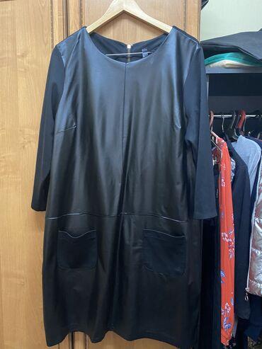 Классное кожаное турецкое платье, сзади трикотаж. Длина до колен. На