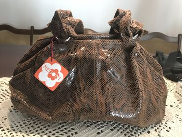 Primark crni mantil - Srbija: Medont kožna torba, zmijski print braon crne kombinacije, zatvaranje
