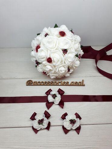 свадебный букет в Кыргызстан: Свадебный букет невестыЦена за набор Цветы искусственные Пишите на