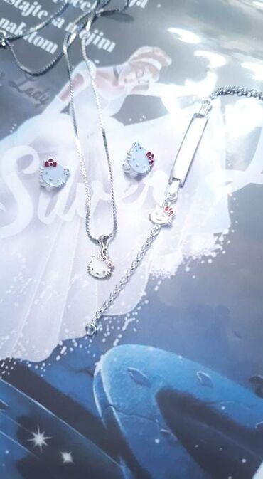 Privezak srebro - Srbija: Set Hello KittyMoze posebno sve da se kupiSrebroMindjuse, cena: 1050
