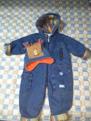 Классный джинсовый комбинезон на мальчика 2-4 лет,длина от плеча 81
