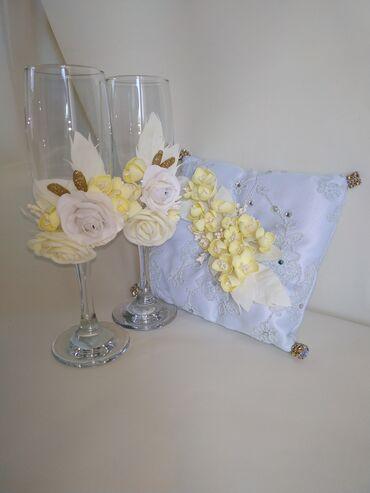 Свадебные фужеры и подушка для колец ! Свадебный набор в подарочной