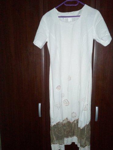 Svetlo bež letnja haljina sa diskretnim aplikacijama nežno braon - Valjevo
