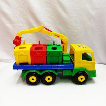 Детский мусоровоз Полесье - большой грузовик с мусорными баками и