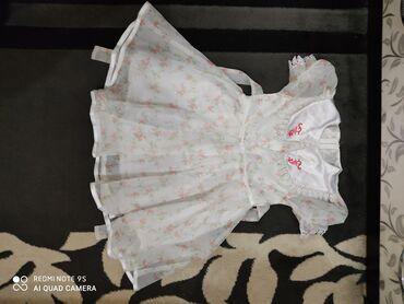 Платье нарядное, в мелкий цветочек, с кружевным воротничком. На