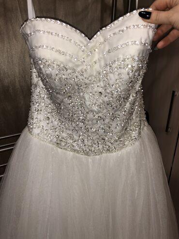 свадебные украшения в Кыргызстан: Девчоночки, продаю свадебное платье!!!   Корсет платья украшен кристал