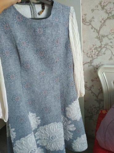 длинные шифоновые платья с рукавами в Кыргызстан: Продаю красивое платье по трапеции с вышивками, рукав длинный на
