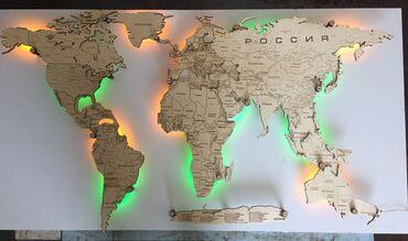 Карта мира из дерева с подсветкой, ночник,точное указание всех стран