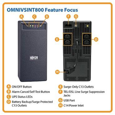 аккумуляторы для ибп toyama в Кыргызстан: Линейно-интерактивный ИБП Tripp Lite серии OmniVS мощностью 800 ВА