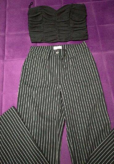 Pantalone struk duzina - Srbija: Pantalone sa dubokim strukom br. 38, u kompletu sa korsetom velicina