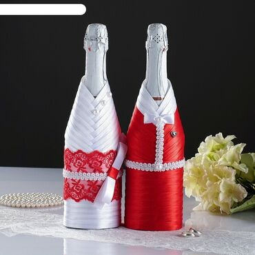 свадебные украшения в Кыргызстан: Украшение на бутылку шампанского, съемное, для яркого и
