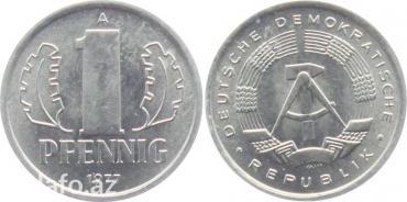 Bakı şəhərində 1 penning. 1977-ci il. Metal-aluminium. Almaniya demokratik
