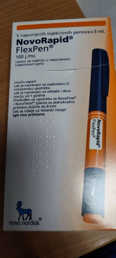Medicinski proizvodi - Srbija: Insulin Novorapid Flexpen. Kutija od 5 penkala, neotpakovana