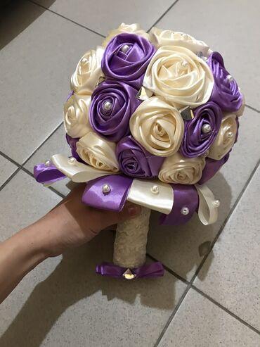 букеты ручной работы в Кыргызстан: Букет на свадьбу сделано из ленты, ручная работа Фиолетовый 400сом Кра
