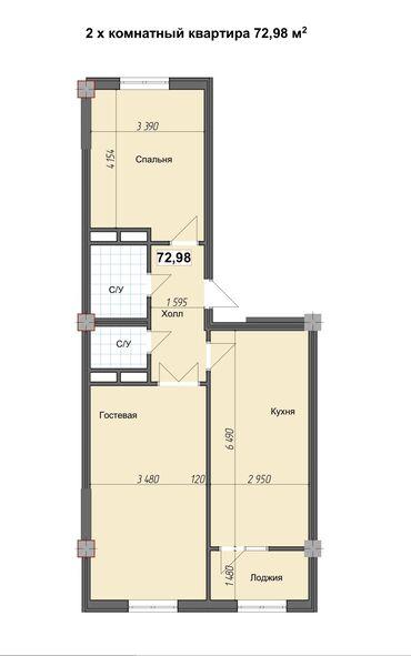 Строится, Элитка, 2 комнаты, 73 кв. м