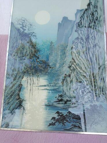 """212 объявлений: Картина нарисована на стекле. """"Скала"""" СССР ширина 55см высота 75 см"""