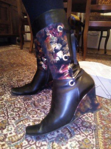 CENA NIJE FIKSNA prodajem elegantne čizme od čiste kože sa ukrasnim de - Leskovac