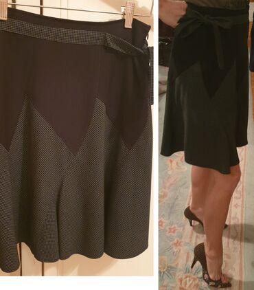 Siva suknja - Srbija: Poslovna suknja od tvida, siva karirana donji deo, crna gornji deo