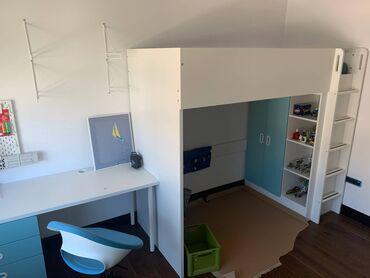 Kuća i bašta - Srbija: IKEA novi, tek namontirani decji set krevet na sprat sa merdevinama