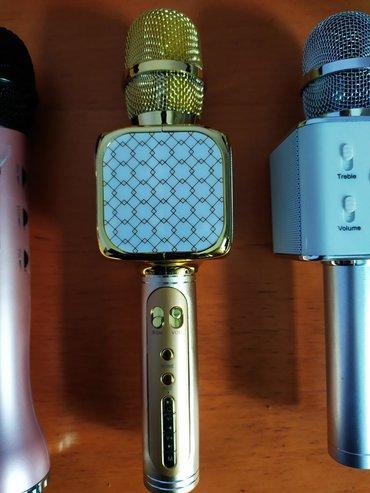акустические-системы-archeer-с-микрофоном в Кыргызстан: Караоке микрофон белый с серебристой ручкой 900с С дисплеем