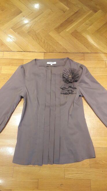 Zenski stofani vuneni mantic tsmno braon - Srbija: Zenska braon kosulja kupljena u Francuskoj velicina S u odlicnom