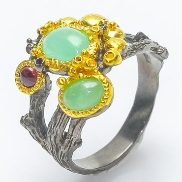Bakı şəhərində Дизайнерское кольцо с Изумрудами