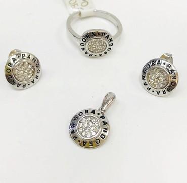 часы модные в Кыргызстан: Модный комплект из серебра,мировой бренд ПАНДОРА