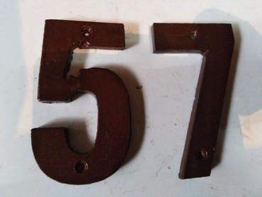 Ostalo za kuću | Nova Pazova: Metalni broj za kuću,57 ili 75,debljine 8mm x75mm x 120mm,izbušeni za