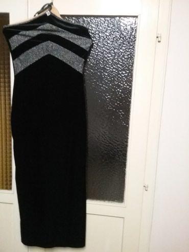 Svecana duga haljina crna somot sa srebrnim lameom prelepa vredi je - Arandjelovac