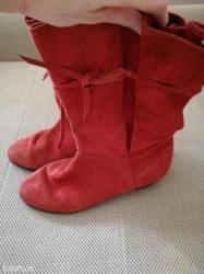 Oprevrnute koze boje vanile - Srbija: Plitke cizme od izvrnute koze. Cigla boje, br 37. Nosene, ali lepo
