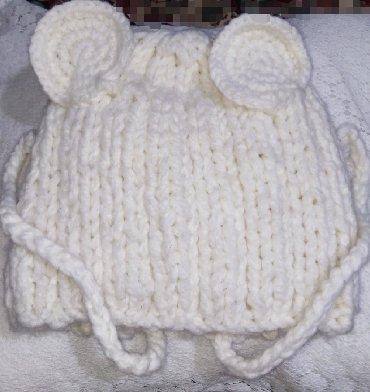 """шаль вязанный в Кыргызстан: 1-2г. Новая,очень милая,теплая вязаная детская шапочка """"мишка"""""""
