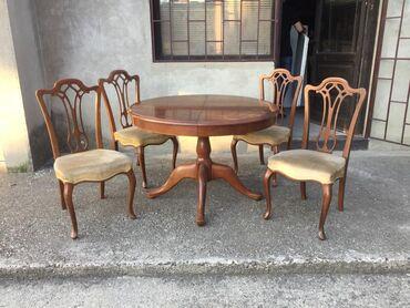 Stilski okrugli sto u INTARZIJI i 4 stolice Stanje kao na slikama