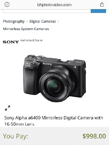 sony-a7-iii-бишкек в Кыргызстан: Продаю фотоаппарат Sony A6400 в комплекте с объективом 16-50mm. Новый!